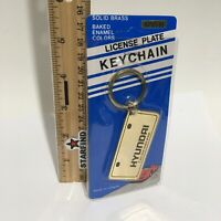 Hyundai Keychain VINTAGE Brass Enamel Metal License Plate Key Chain Ring SEE...