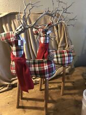 Pottery Barn Fabric Red Green Large Plaid Reindeer Lot of 2 Last