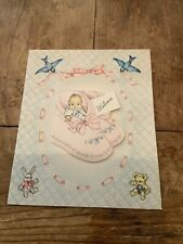 Welcome Best Wishes To Baby in Shoes Birds Bear Bunny Vintage Greeting Card