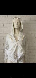 Rip Curl Ladies Womens Bomber Jacket Hoodie Size 12 White