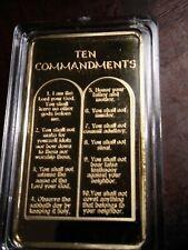 10 Commandments Bar Gold Plated Bar 1 OZ