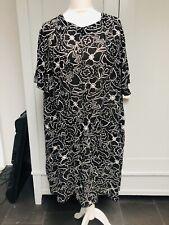 Gudrun Sjoden Black White Floral Sheer Dress Lagenlook Summer Size XL