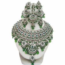 Silver Plated Jodha's Kundan Zerconic Bollywood Necklace Set Earrings Tikka