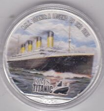 COLOURIZED USA 1 OUNCE 2005 SILVER DOLLAR TITANIC NEAR MINT CONDITION IN CAPSULE