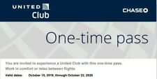 TWO (2) UNITED CLUB ONE TIME PASSES-EXPIRE 1/22/21 E-DELIVERY