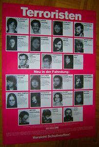 MINT! 1985 (84cm!!) Fahndungsplakat Wanted Poster TERRORISTEN Baader-Meinhof RAF