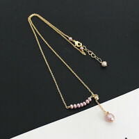 14K Gold Plated Natural Fresh Water Pearl Pendant Chain Necklace Women Jewelry