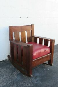 Mission Art and Craft Early 1900s Oak Rocking Chair 2407