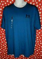 Under Armour Mens Athletic Heatgear T-Shirt Short Sleeve Blue Tee Large NEW