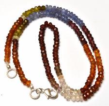 "72.CT Natural  Multi color Garnet Faceted Rondelle Beads NECKLACE 3.5 - 4 MM 16"""