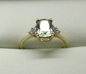 Beautiful 9 Carat Gold Citrine And Diamond Ladies Ring Size N