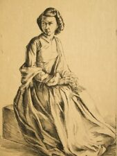 Antique lithograph engraving pencil signed R. J. Renwick 1920's