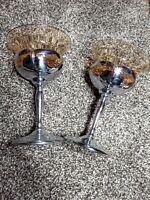2 Vintage Farber Bros.Krome Kraft Art Deco Cambridge Amber Glass Stem Cocktails