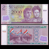 Paraguay 2000 2,000 Guaranis Banknote, 2011, P-228c, Polymer, UNC