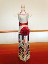 Deco Doll Mannequin Jewelry Tree Holder Organizer Sexy Gold Fringed Beaded Dress