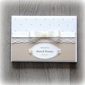 Beautiful Luxury Personalised Wedding/ Anniversary Guest Book/ Hand Made + Box