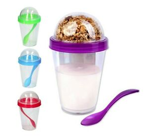 4 x Breakfast To Go Pot Yoghurt Pot Handy Cereal Compartment Healthy Snack Fruit