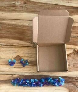 Blue & Purple Lucite Flower Bead Crafts Kit Box, Bracelet & Earrings