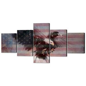 50''W x 24''H - 5 Piece American Flag Wall Art Eagle USA Flag Canvas Painting
