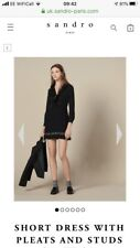 Sandro Short Dress With Pleats And Studs - Brand New. Size 40 (12)