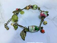 Beaded Charm Bracelet Antique Tone
