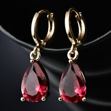 Dangle Pear Ruby Red Crystal Rhinestone Gold Filled Women Lady Drop Hoop Earring