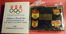 Anheuser-Busch 1988 Commemorative Set of 4 Olympic Pins NIB  Seoul Calgary