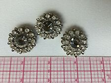 3 Gray And White Rhinestones, Bridal, Prom Dress, Boho Style, Metal, Vintage.