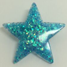 Mermaid blue Large Star Glitter Charms Resin Brooch Pin Badge G010 Kitsch Fun