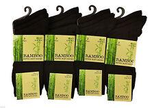 6xPairs Men's Black Luxury Bamboo Super Soft Anti Bacterial Socks-Size 6-11