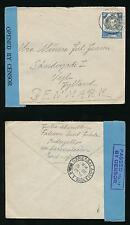 KUT TANGANYIKA KIDUGALLO to DENMARK 1939 PASSED by CENSOR 17 BOXED + BLUE TAPE
