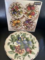 Set of 4 Sonoma Sakura Stoneware Salad Plates Fruit Motif Still In Box Stunning!