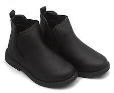 Boys Girls Kids Chelsea Dealer Ankle Boots Smart Black Slip On School Shoes 11-5