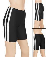 Schwarze Radler mit weißen Streifen elastische Hose Damen stretch shiny glänzend
