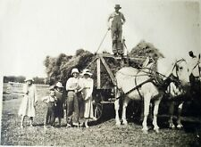 UNUSUAL Antique Photo Postcard Farmers Horses Hay Man On Top Family Vintage