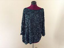 NWT $1995 ST. JOHN COUTURE Sequined Asymmetrical Blouse*Emerald*Medium
