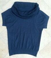 M&S Ladies Cowl neck Jumper Short Sleeved Navy Sizes 10 12 18 22 New