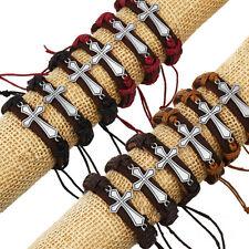 Wholesale 12pcs Handmade Leather Creative Cross Bracelet for Gift