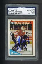 Ed Belfour signed Chicago Blackhawks 1991 Topps hockey card Psa slabbed