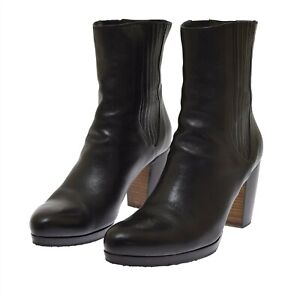 Rocco P Black Leather Short Pull On Women's Boots 39 US 9 Bootie