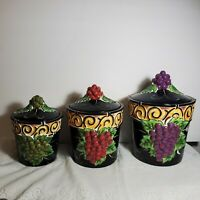 Grape Kitchen Canister Set Clay Art Napa Vines Stone Lite Majolica Chip OA4A01