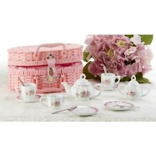 Delton Large Porcelain Tea Set With Basket, Lavander Rose