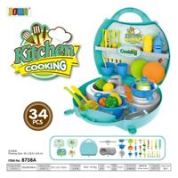 Kids Kitchen Set Cooking Playset Suitcase Pretend Role Play Toy Set Kids Gift