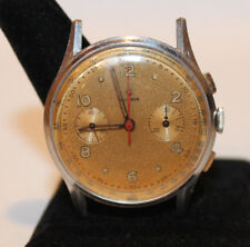 Large 38mm Vintage Chronograph Watch Helbros Gold Dial Running  D'A Nicolet
