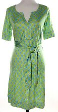 Lilly Pulitzer Dress Sz 4 Short Sleeve Belt Blue Green Houndstooth 100% Silk NWT
