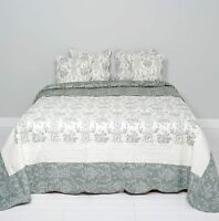 Clayre & Eef Tagesdecke Quilt Plaid Shabby Chic Landhausstil grau/weiß 230x260cm