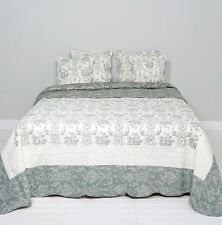 Clayre & Eef Couvre-Lit Quilt Plaid Shabby Chic Style Cottage Gris /Blanc