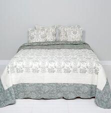 Clayre & Eef Tagesdecke Quilt Plaid Shabby Chic Landhausstil grau/weiß 180x260cm