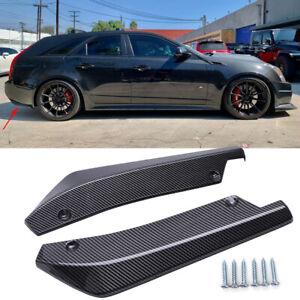 Glossy Carbon Fiber Rear Bumper Canard Splitter Lips For Cadillac Escalade CTS