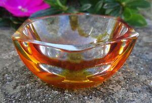 Moser Czech Amber Art Glass Open Salt Dip, Cellar, Dish w/Label!